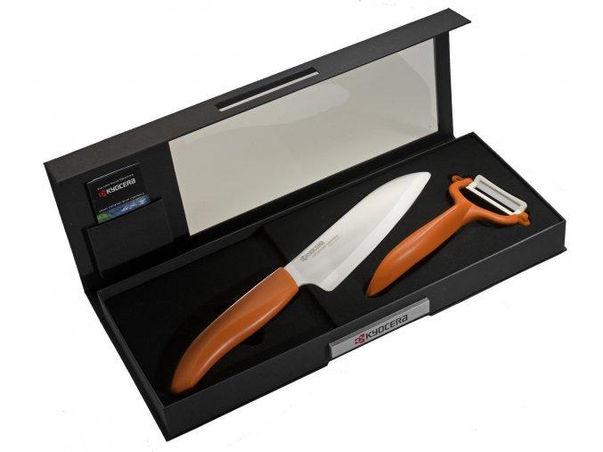 Dárkové balení keramických nožů FK-140WH-OR + CP-10NOR (oranžový)