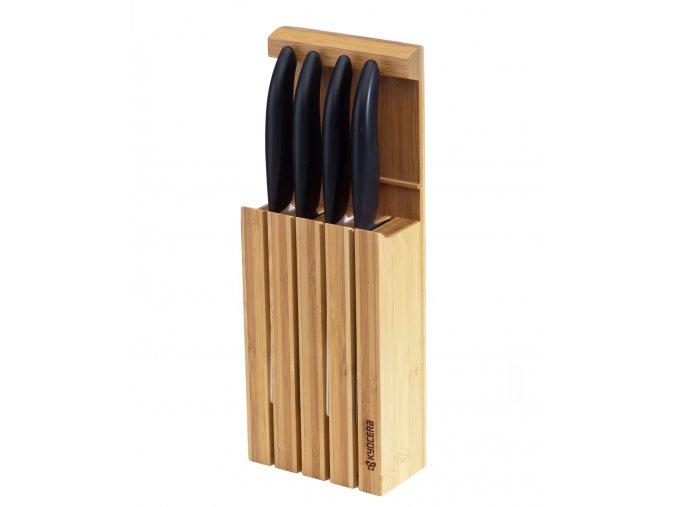 Stojan na 4 keramické nože, vyrobeno z bambusu (pro max. délku čepele 18 cm)