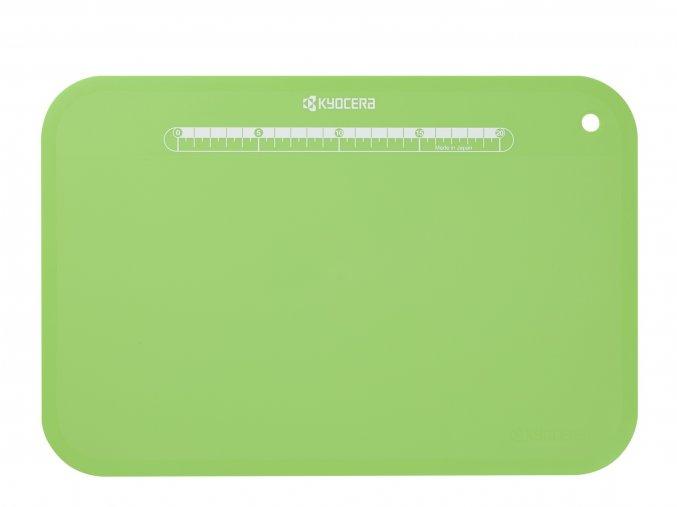 Plastové prkénko s pravítkem na krájení potravin, zelené, 370 x 250 x 2 mm