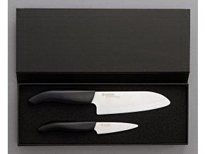 Dárkové balení keram. nožů v černém boxu FK-140WH + FK-075WH (černá rukojeť)