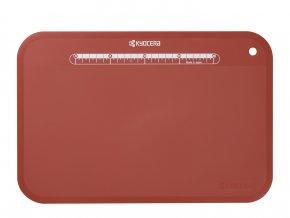 Plastové prkénko s pravítkem na krájení potravin, červené, 370 x 250 x 2 mm