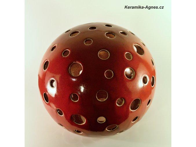 Keramický svícen děrovaný koule XL