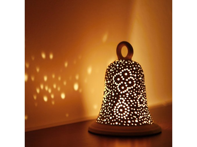 Keramický svícen děrovaný zvonek