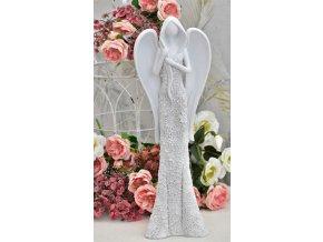 Anděl bílý květované šaty 50 cm