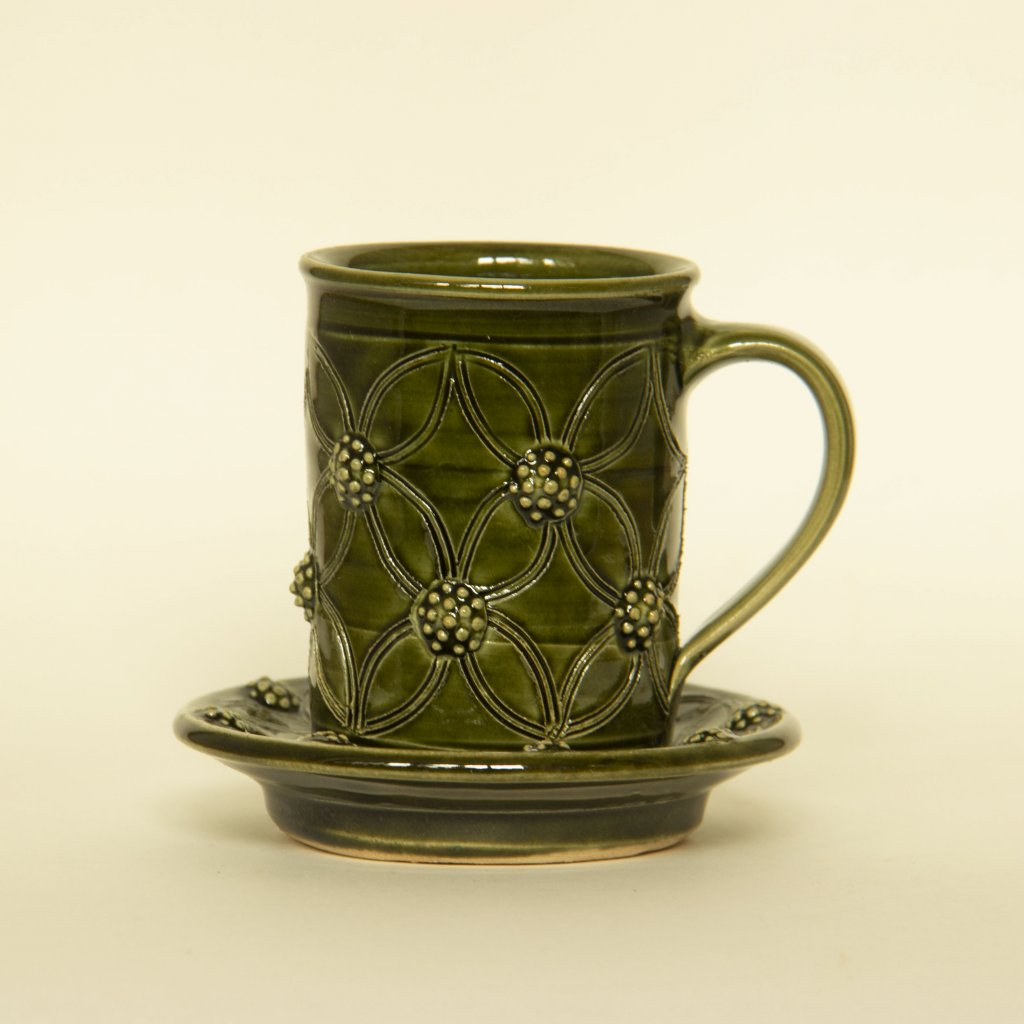 Espresso hrneček zelený větší s podšálkem
