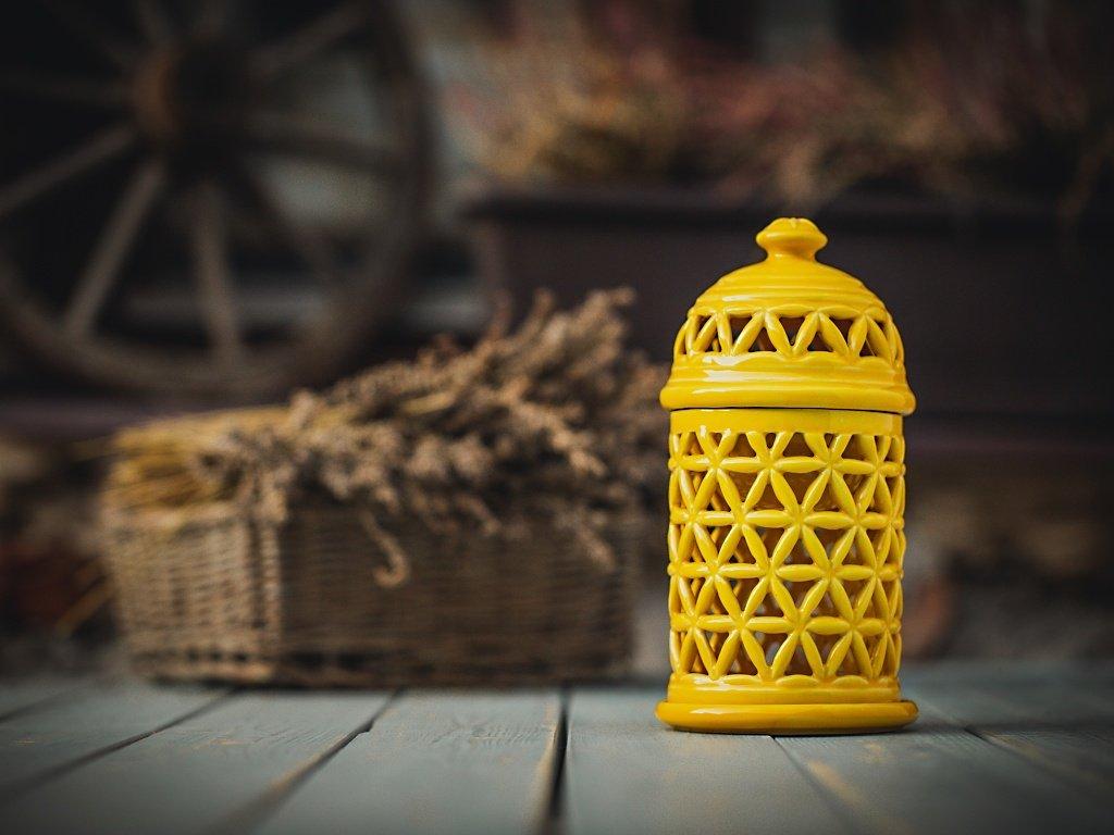 aromalampa květ života žlutá