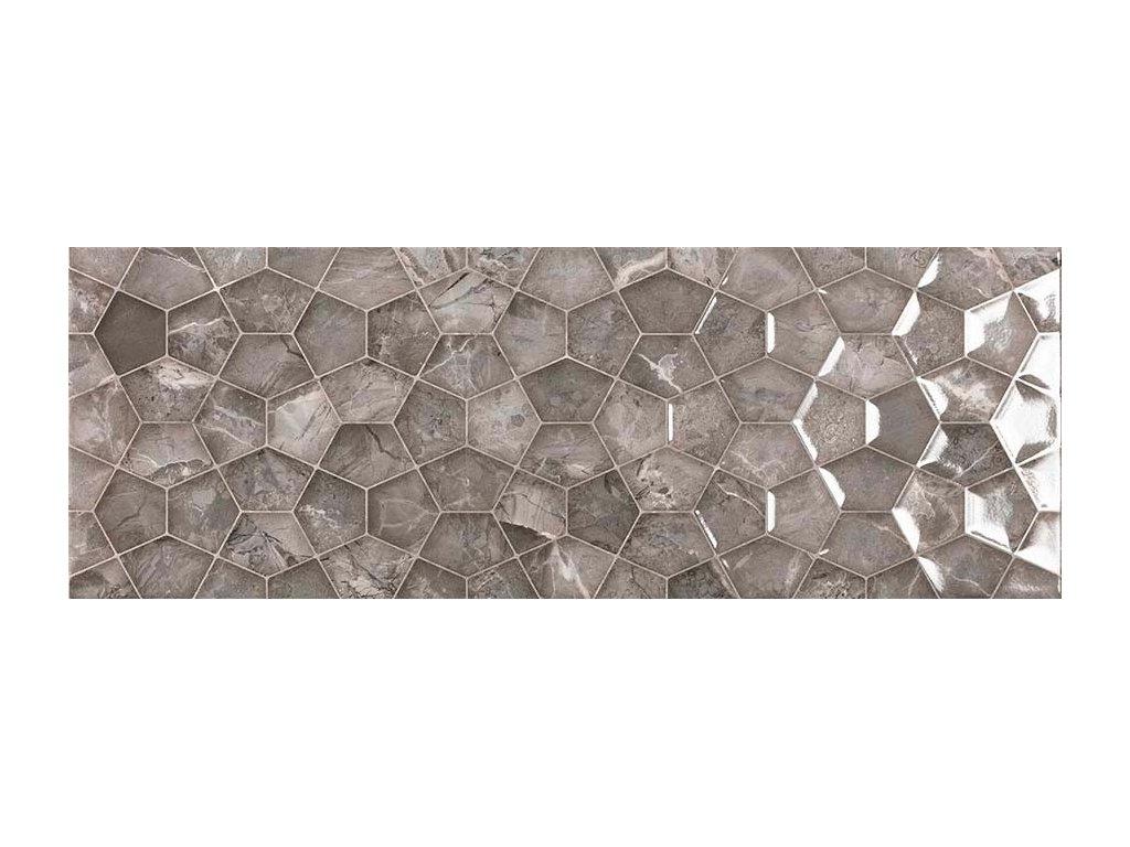 Lesklý reliéfní dekor v imitaci mramoru ARIANA Graphite 25 x 70 cm
