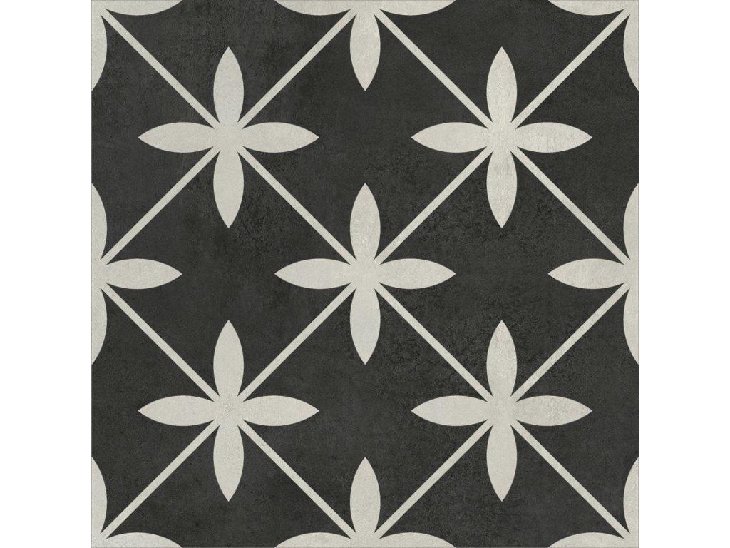 Laurent 110, dekorativní dlažba, šedočerná, matná, 18,6x18,6 cm