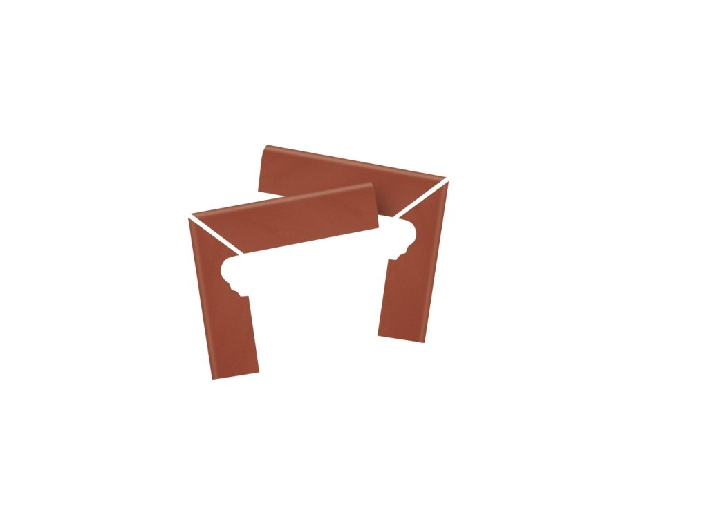 Keraplatte Terra 215/9005 patrician red  schodový sokl levý