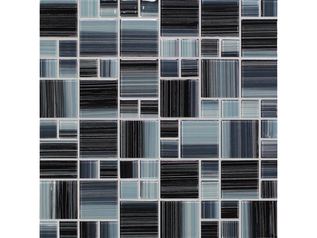 Mozaika skleněná šedá mix sklo