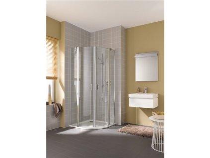 Cada XS čtvrtkruhový sprchový kout, 80x200 cm, stříbrná vysoký lesk, čiré sklo, kyvné dveře s pevnými poli