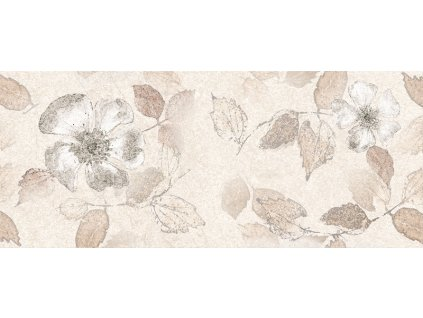 Estela Beige DC Flower, dekorativní obklad, béžový, matný, 25x60