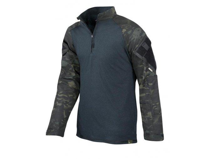 Bojové triko UBACS TRU-SPEC TRU  1/4 -ZIP Combat Shirt - MultiCam® Black