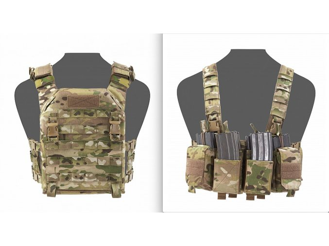 Nosič plátů + hrudní nosič WARRIOR ASSAULT SYSTEMS - RECON Plate Carrier with PATHFINDER Chest Rig - MultiCam