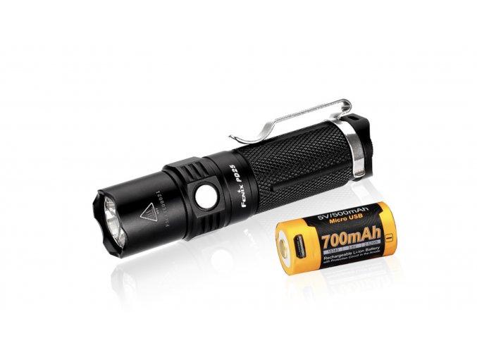 LED svítilna FENIXPD25+ USB aku 700 mAh