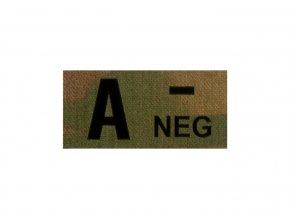 IR nášivka krevní skupina CLAWGEAR A Neg IR Patch
