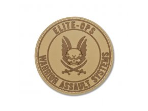 Gumová Velcro nášivka WARRIOR ASSAULT SYSTEMS Round Rubber Logo Shield - Coyote Tan