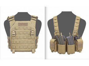 Nosič plátů + hrudní nosič WARRIOR ASSAULT SYSTEMS - RECON Plate Carrier with PATHFINDER Chest Rig - Coyote Tan
