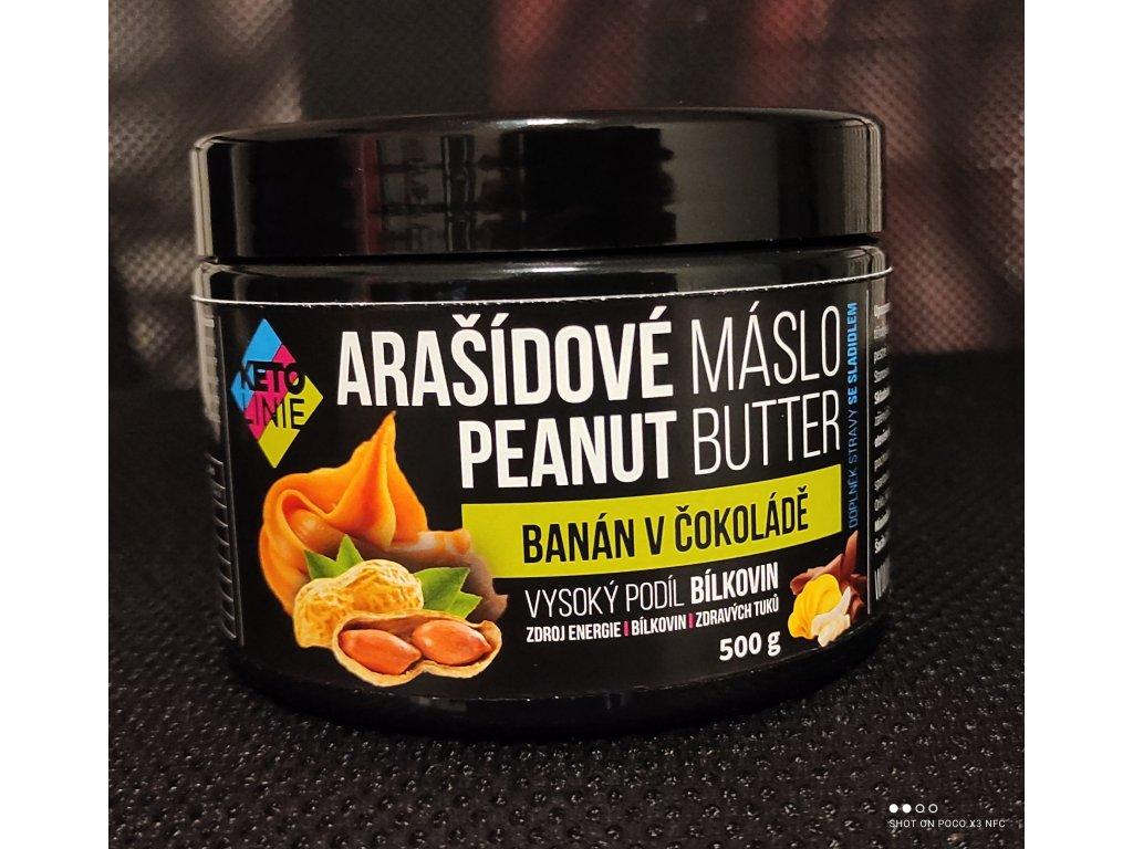 proteinové arašídové máslo s příchutí banán v čokoládě