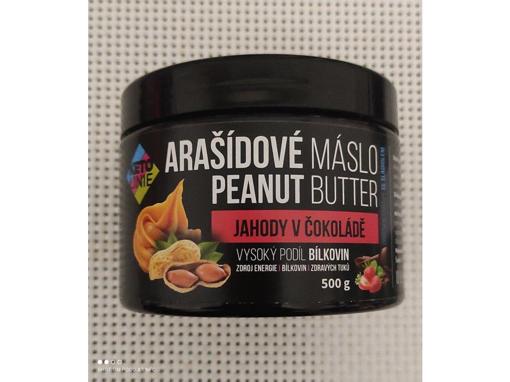 proteinové arašídové máslo s příchutí jahoda v čokoládě
