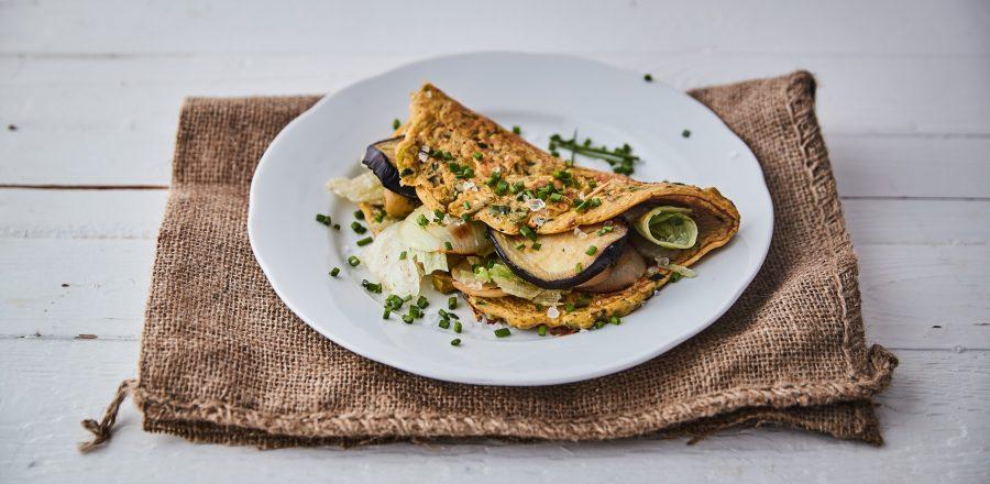 Omeleta s restovanou zeleninou