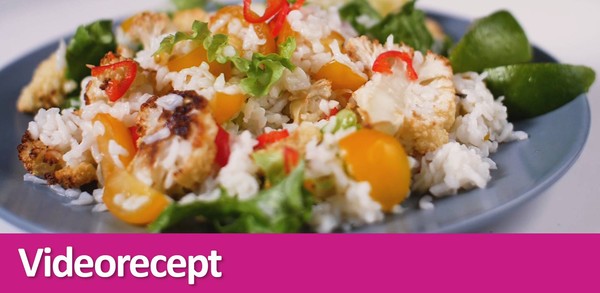 Salát s konjakovou rýží a pečeným květákem