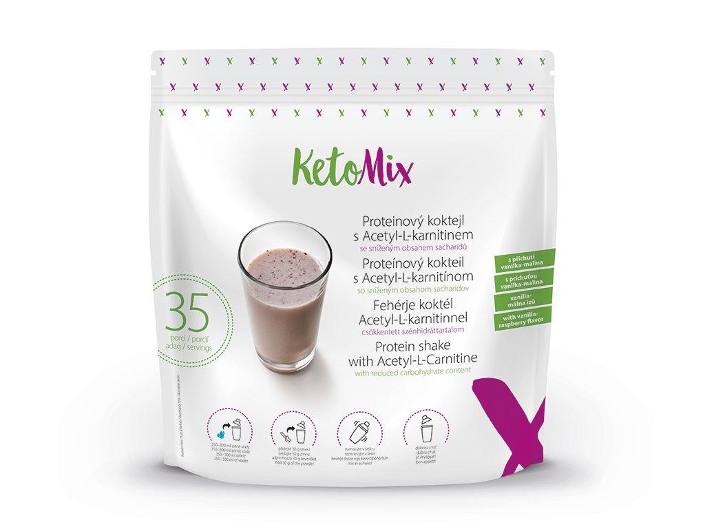 Proteinový koktejl s Acetyl-L-karnitinem s příchutí vanilka-malina (35 porcí)