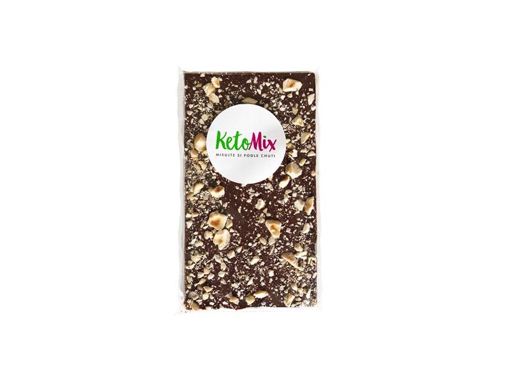 KetoMix 52% MLÉČNÁ čokoláda S LÍSKOVÝMI OŘECHY (slazená erythritolem)