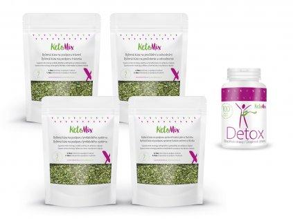 Detox balíček – Detox kapsle + Bylinná kúra na podporu hubnutí – sypaná směs