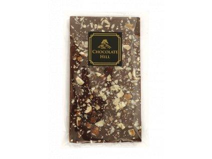 Čokoláda bez cukru S LÍSKOVÝMI A VLAŠSKÝMI OŘECHY 77 % (slazená erythritolem)