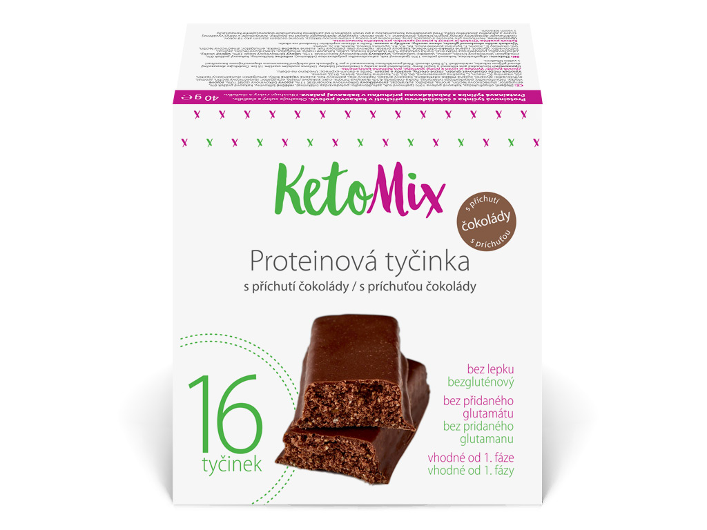 KetoMix Proteinové tyčinky s příchutí čokolády 16 x 40 g