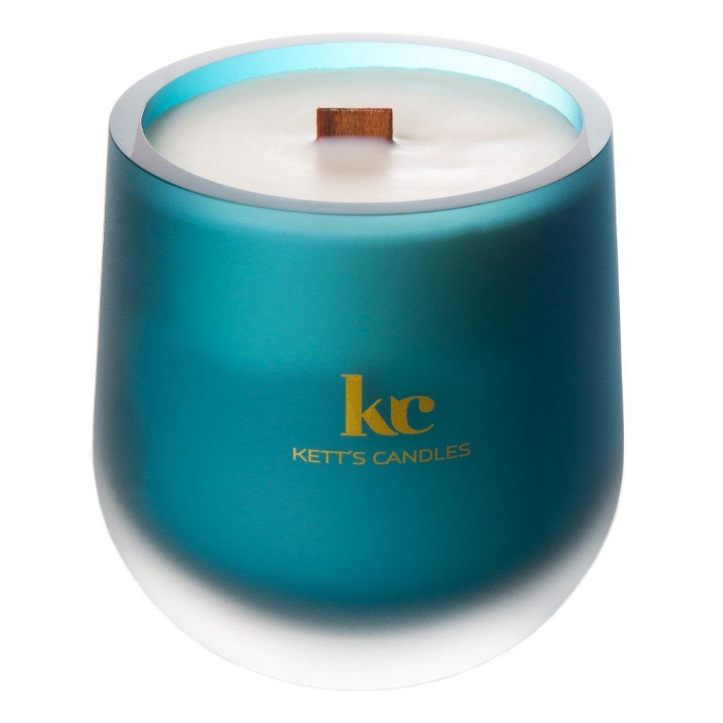 KETT'S CANDLES svíčka v českém skle s dřevěným knotem White Winter