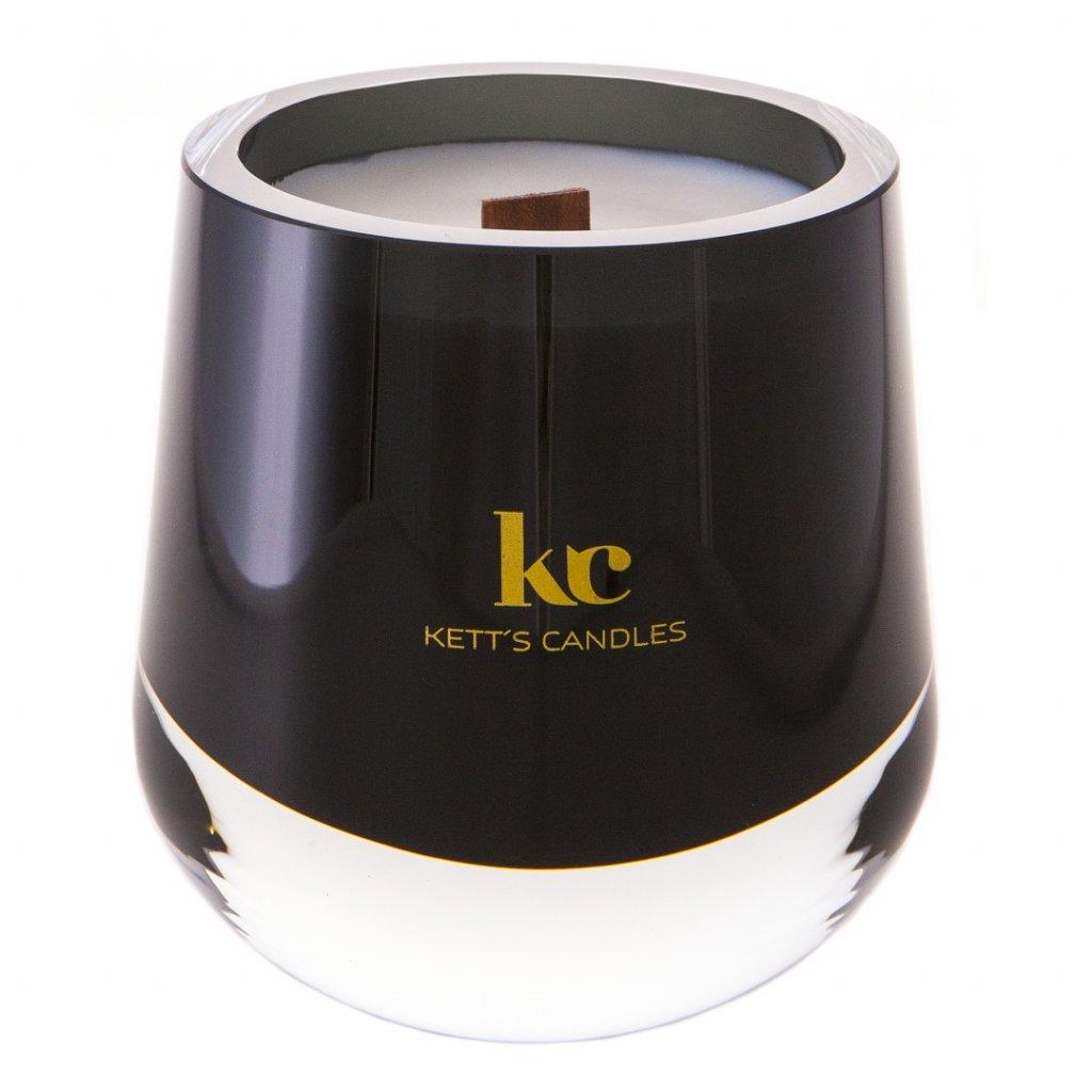 KETT'S CANDLES svíčka olivová mat v českém skle s dřevěným knotem Gingerbread House