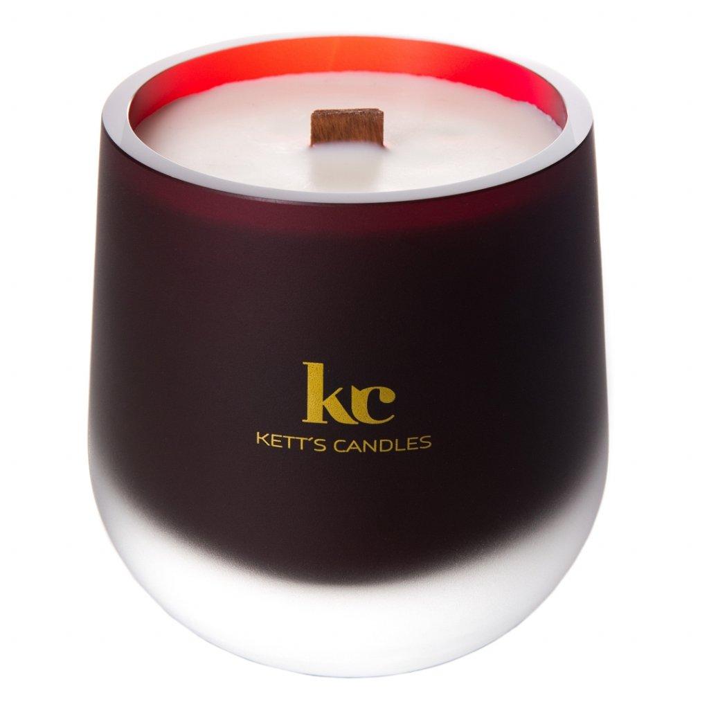 KETT'S CANDLES svíčka vínová mat v českém skle s dřevěným knotem