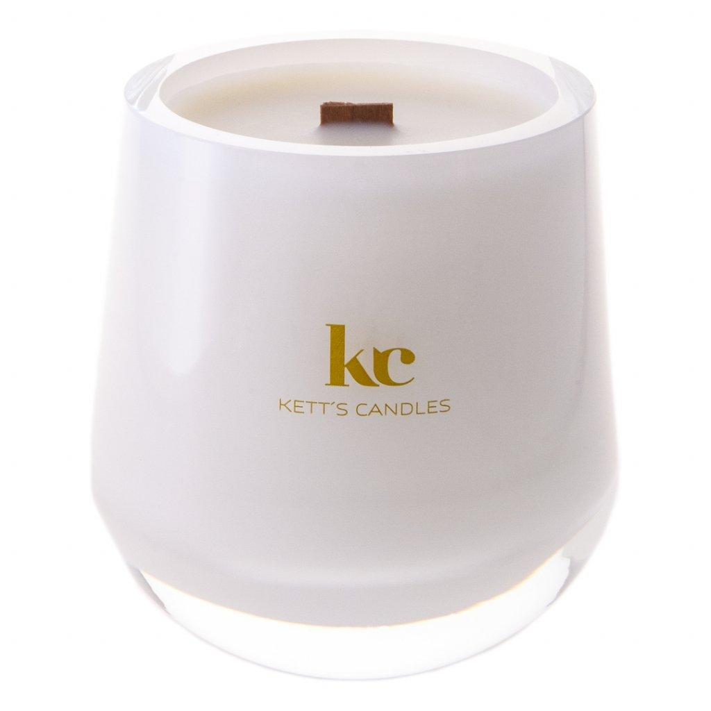 KETT'S CANDLES svíčka v českém skle s dřevěným knotem Coconut Pineapple
