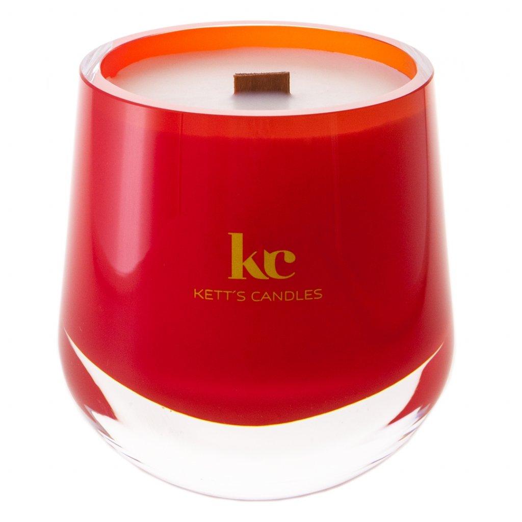 KETT'S CANDLES svíčka v českém skle s dřevěným knotem Christmas Hearth