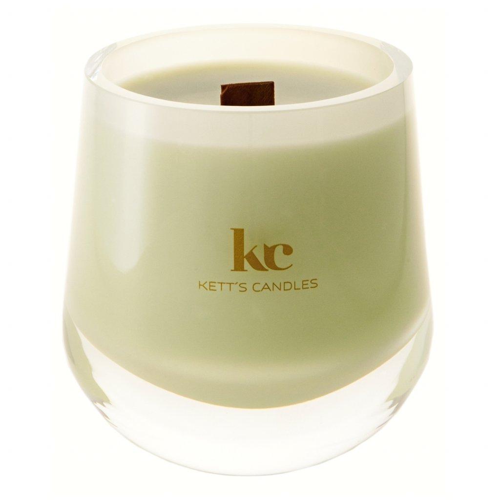 KETT'S CANDLES svíčka v českém skle s dřevěným knotem Lime Vanilla