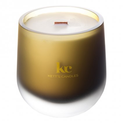 KETT'S CANDLES svíčka olivová mat v českém skle s dřevěným knotem Christmas Cedar