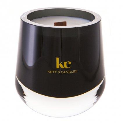 KETT'S CANDLES svíčka v českém skle s dřevěným knotem Nag Champa