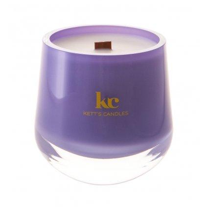 Vonná svíčka v českém foukaném skle s dřevěným knotem - Lavender