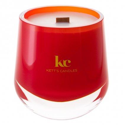 KETT'S CANDLES svíčka v českém skle s dřevěným knotem Love Spell