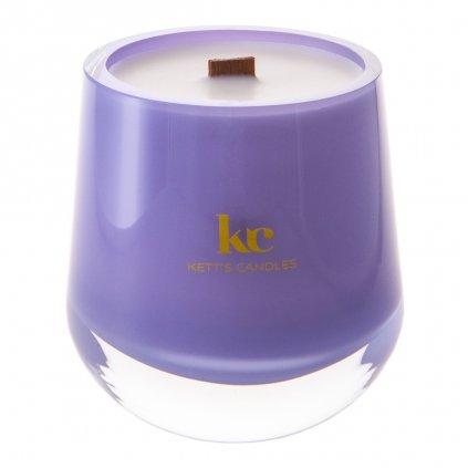 KETT'S CANDLES svíčka v českém skle s dřevěným knotem Plumberry