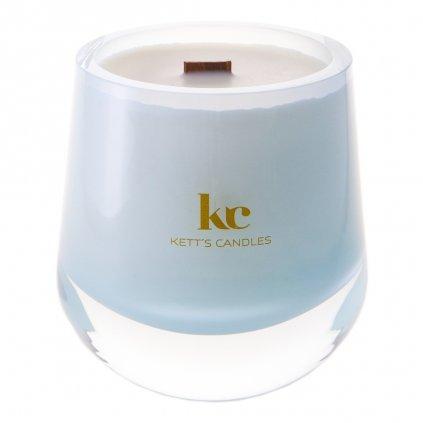 KETT'S CANDLES svíčka v českém skle s dřevěným knotem Sun Washed Linen