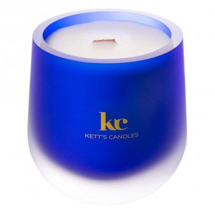 KETT'S CANDLES svíčka v českém skle s dřevěným knotem - Sun Washed Linen