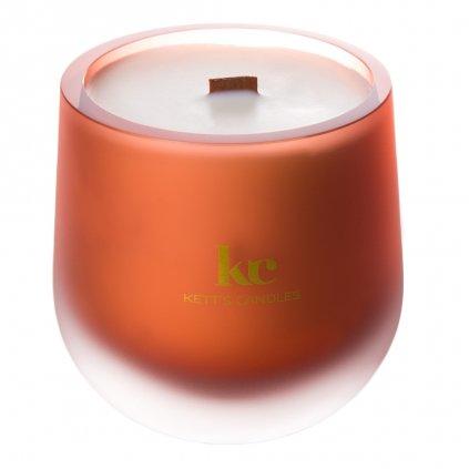 KETT'S CANDLES svíčka oranžová mat v českém skle s dřevěným knotem Pumpkin Soufle