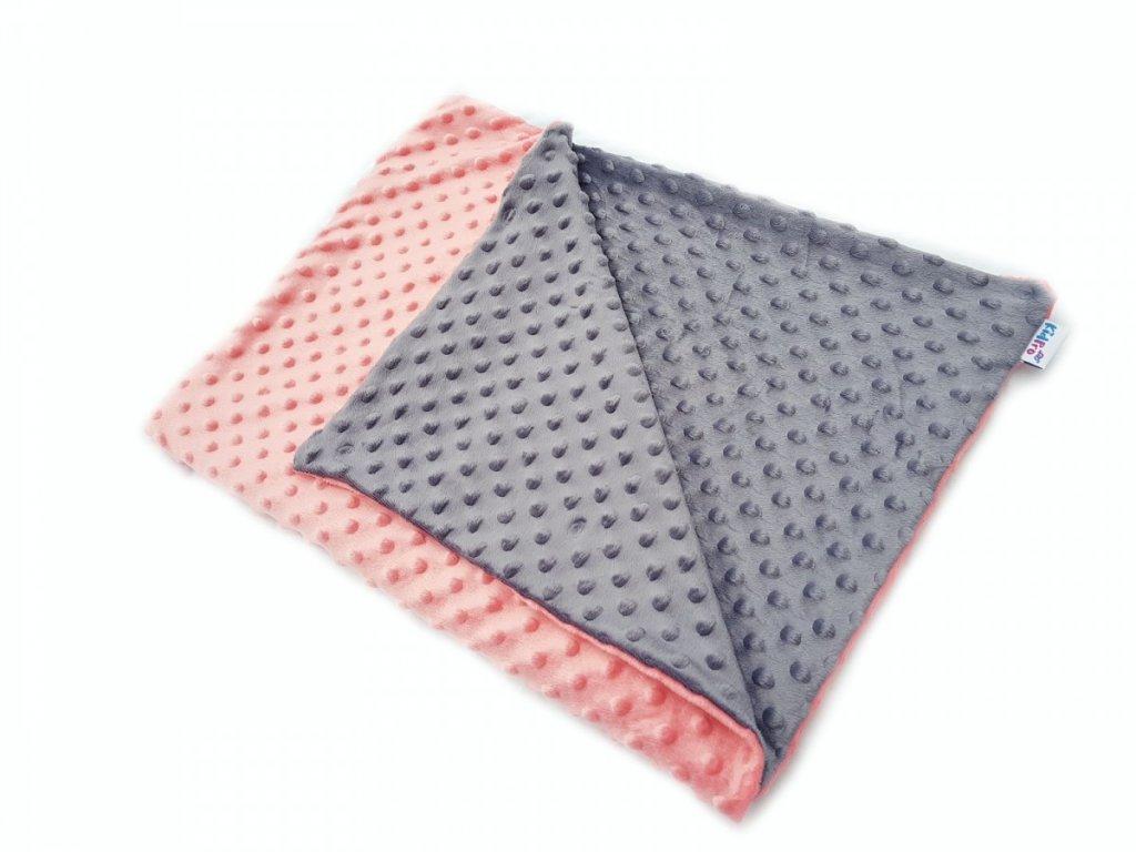 KidPro senzomotorická deka minky duo šedá/lososová