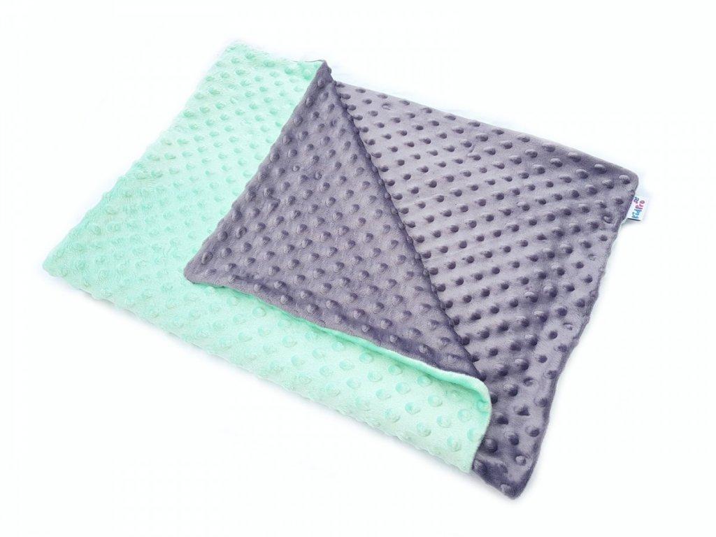 KidPro senzomotorická deka minky duo šedá/mint