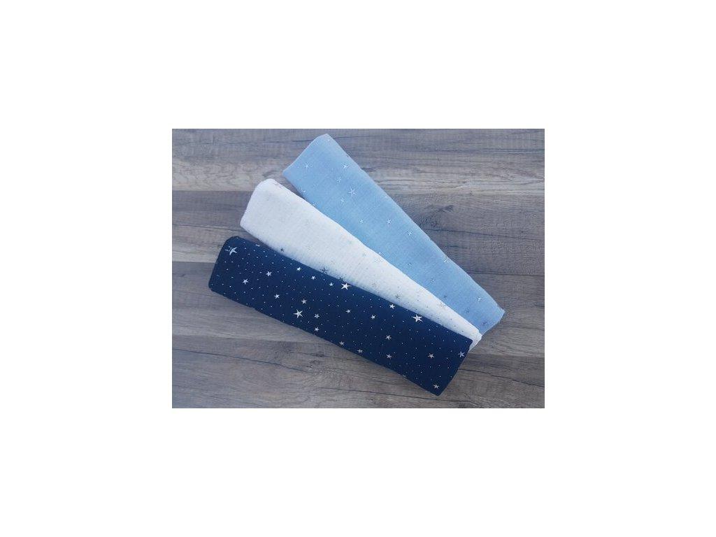 Mušelínové bavlněné pleny modrý mix 60x60 cm, 3 ks