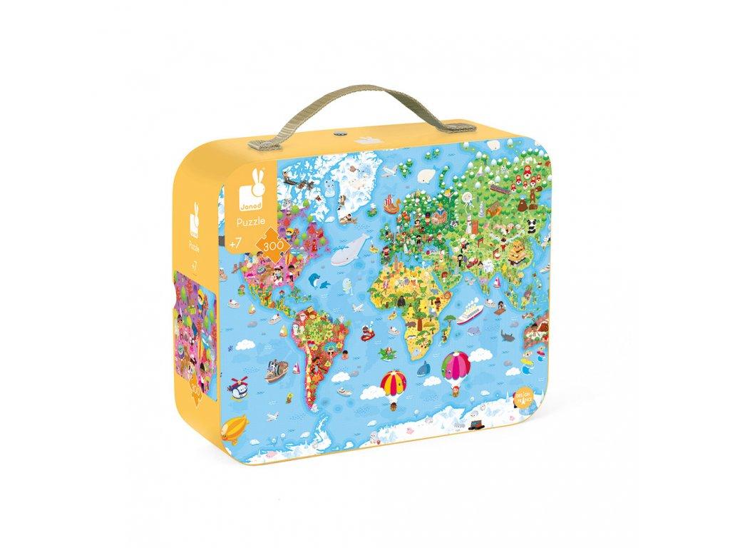 J02656 Janod Puzzle Mapa sveta v kufriku 300ks 01