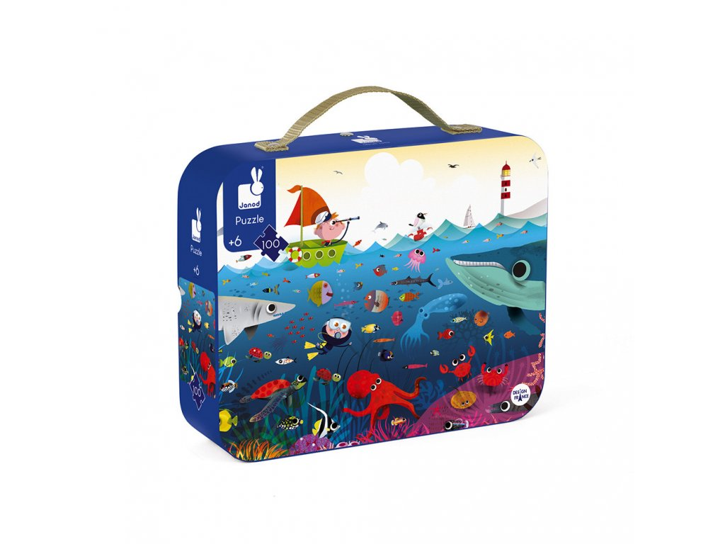 J02947 Detske puzzle Svet pod vodou Janod v okruhlom kufriku 100 dielov od 5 8 rokov 3
